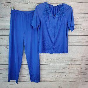 Lorraine 2 Pc Pajama Set Shirt Pants Pink Silky